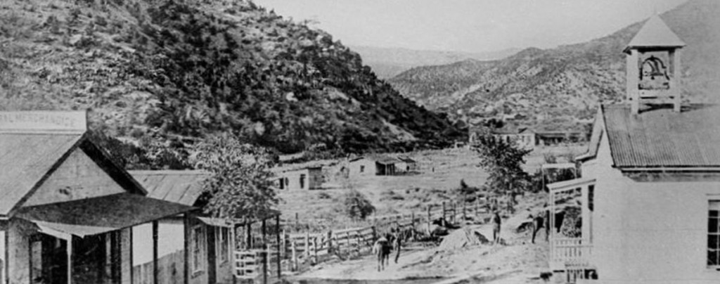 """Jemez Springs"" circa 1890, view looking north toward original Bath House."