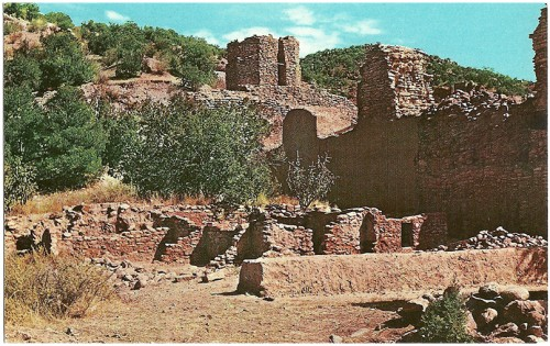 Jemez State Monument, New Mexico This Monument contains the Ruins of the ancient Indian Pueblo of Guisewa and of the Franciscan Mission which was founded in 1617 and 1621. The Pueblo first visited by Coronado in 1541 was abandoned between 1680 and 1694. Color by Don Kolkmeyer/Distributed by Southwest Post Card Co.