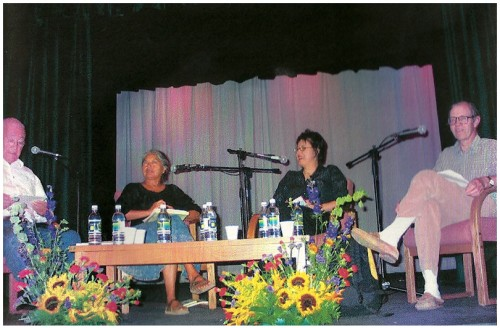 Photo of Scott Momaday (Moderator), Rena Swentzeil, Demetria Martinez, and John Nichols.