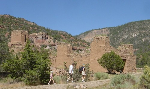Visitors on the trail to the ruins of San Jose de Guisewa at Jemez State Monument in 2010. Photo by Judith Isaacs