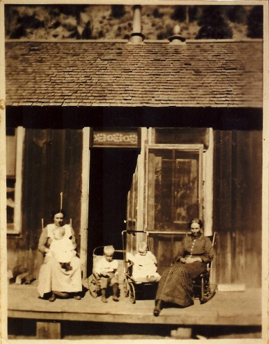 A happy family enjoying a fine day in Bland, New Mexico, Circa 1890.