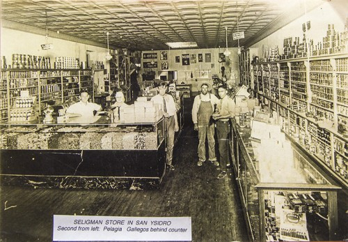 Seligman Store in San Ysidro. Second from left: Pelagia Gallegos behind counter. Used with permission from files of Sandoval County Historical Society.