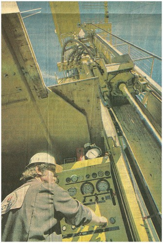 Driller Mike LaOrange operates the drill rig used to bore into the Valles Caldera. Richard Pipes/Albuquerque Journal